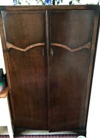Beautiful wood wardrobe with carving