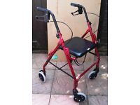 RED LIGHTWEIGHT 4 WHEELED ALUMINIUM ROLLATOR MOBILITY WALKING AID WITH SEAT
