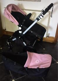 Bugaboo Cameleon 3 with black bases & SOFT PINK extending hood & apron plus raincover.