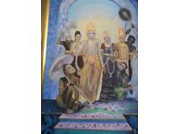 Very Large oil depicting Hindu Lord Krishna, wife, and Lord Hanuman and servants