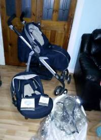Navy blue Silver Cross 3D travel system with extras