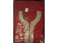 Red Indian suit with heavy Diamante neck line