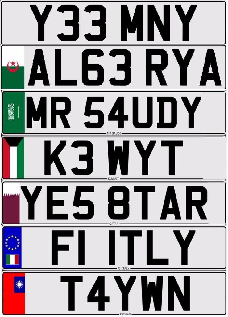 Number plate Yemen Qatar Saudi Kuwait KSA Arab Italy Tiawan Asian Algeria