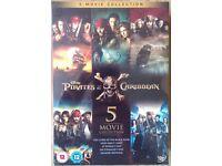 Pirates Of The Caribbean - 5 DVD Box Set + Salazars Revenge - Brand New & Sealed