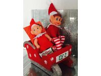 Xmas sleigh with elf and baby