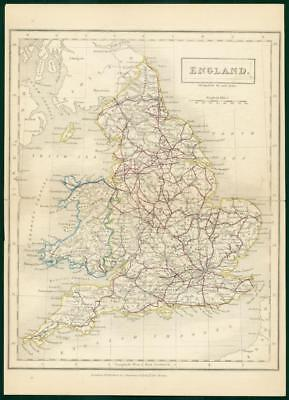 c1820 - Original Antique Map ENGLAND Chapman Hall outline hand colour (CP7-M)