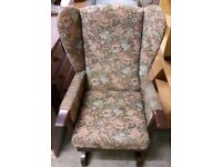 Vintage Floral Wingback Rocking Chair