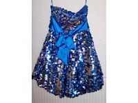 ELECTRIC/ROYAL BLUE & SILVER FULLY SEQUINNED PARTY/STAGE DRESS! NEW WITH TAGS!