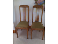 4 Antique dining room chairs, sway back Mackintosh style