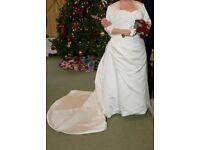 Ivory Duchess Satin Wedding Dress with Bolero Jacket - Size 18 to 20