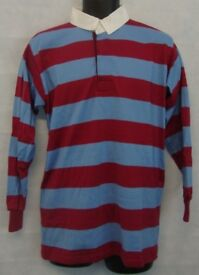 "Stripe Rugby Shirt Polo Mens Long Sleeve Sport Top Size Medium 40"" Chest #3930"