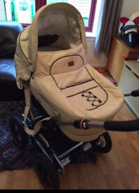 Emmaljunga Pram Mondial Duo Sports Chassis Cream Leatherette