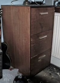 Vintage 3 Drawer Wooden Filing Cabinet
