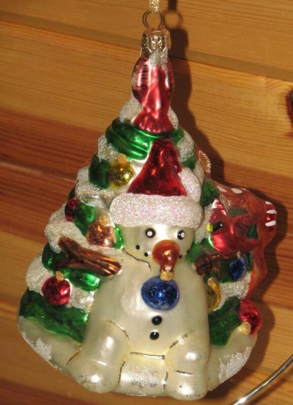 "CHRISTOPHER RADKO vintage large 7"" SNOWMAN & CHRISTMAS TREE ORNAMENT"