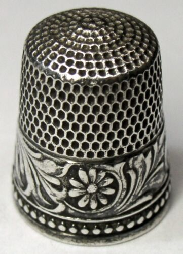 """Antique Simons Bros. Co. Sterling Silver Thimble  """"Chased Rosettes""""  C1890s"""