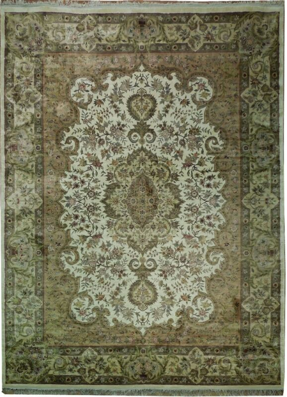 White Traditional Style New 9x12 Art Silk Rug