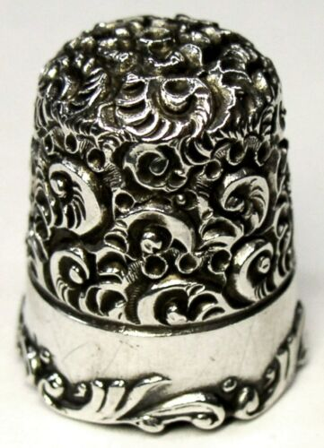 "Antique Ketcham & McDougall Sterling Silver Thimble  Heavy Chased ""Embroidery"""