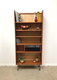 70s original G Plan Form 5 Mid Century retro industrial tall bookcase on hairpin legs