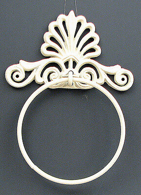 Ornate Crown Painted White  Towel Ring Cast Iron Set of 2