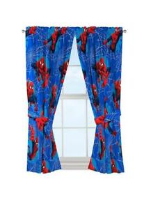 Marvel Spiderman Astonish 42 x 63 Curtain Panel Pair with Tie Backs Set, 63 Inch