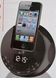 NEW iLive FM Sphere Alarm Clock Radio CHARGING  DOCK  For iPod & iPhone - BLACK