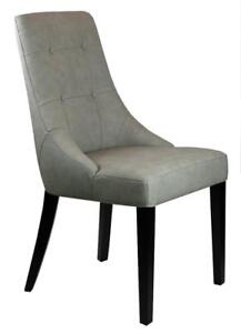 22 Beautifully Sculpted Dining Chair in Grey Leather on Clearance