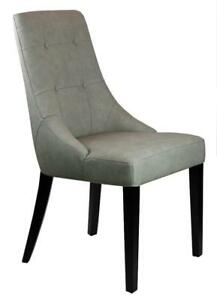 30 Beautifully Sculpted Dining Chair in Grey Leather on Clearance