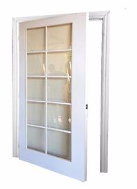 Pre-Hung White Glazed Doors ( White Beading)