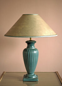 Blue ceramic table lamp with mottled cream shade edged in blue - excellent condition.
