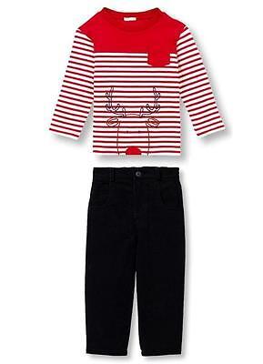Le Top Baby Boys Christmas Run Run Reindeer Shirt and Black Corduroy Pants Set