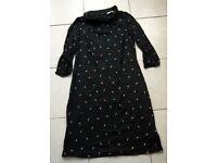 Boden Jersey Dress Black Size UK 12 Retro 40s Peter Pan Collar