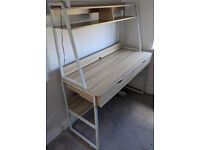 Oak effect desk with shelves and drawers