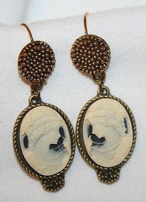 Lovely Medium Ebonytone & Cream Flapper Girl Brasstone PIERCED Earrings