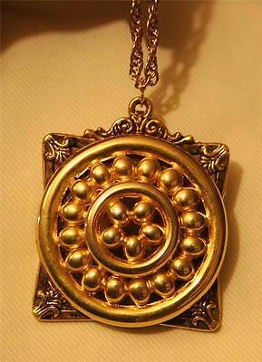 Handsome Sculpted Fleur-de-Lis Raised Beaded Circles Goldtn Pendant Necklace