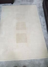 100% WOOL designer rug [Laura Jade] from Frith Rugs - cream/off white with 3 pale 'wheat' squares