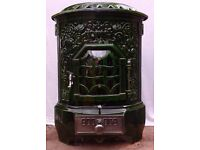 Antique French Wood Stove deville Helliver 1920's Cast Iron, brick lined, Green enamel. Multifuel