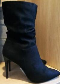 BRAND NEW & NEVER WORN Black High Heel Boots [Size 7]