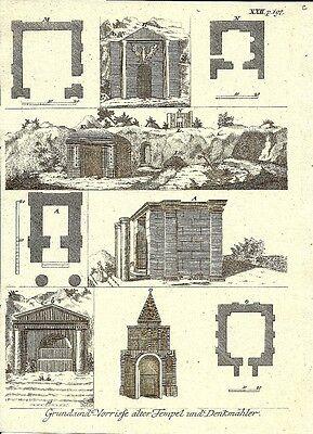Antique engraving, Grund und vorrisse temple denkmahler XXII