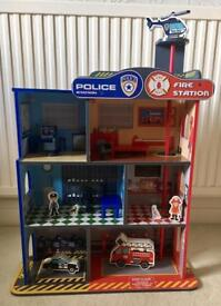 Wooden Police & Fire Station with figures