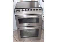 55CM WIDE Zanussi stainless steel, double oven electric cooker 4 MONTHS WARRANTY