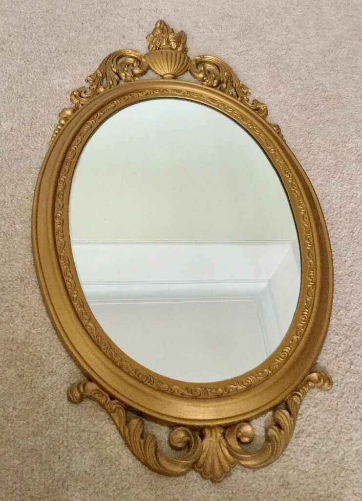 VINTAGE STYLE WALL MIRROR, GOLD FRAMED OVAL MIRROR, BEAUTY & THE ...