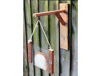 Hand-Made Wooden Garden Fence Bird Bread Feeder & Bracket