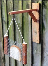 Hand-Made Wooden Garden Fence Bird Bread Feeder