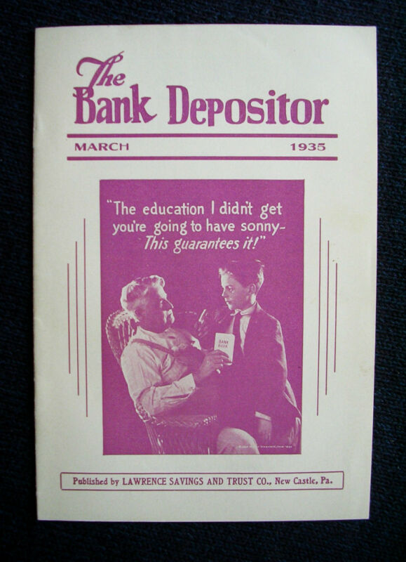 Vintage Lawrence Savings & Trust Co Bank Depositor,PAMPHLET New Castle, Pa 1935