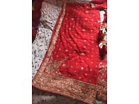 Bridal lengha Asian wedding dress, with matching sandals RRP £725