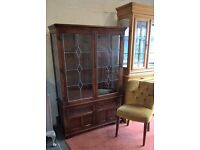 **FREE DELIVERY**Old Charm Display Cabinet Dresser Tudor Brown Carved Oak Leaded (Poss Shabby chic)