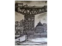 Pen and ink original drawings by Scottish artist Victoria Tonner of past and present Inverclyde