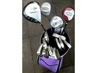 LADIES golf set - irons/woods/putter - BRAND NEW trolley bag (NEVER used) & balls/tees - BARGAIN !!