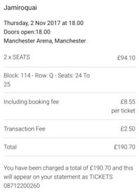 Jamiroquai ( x 2 tickets ) Manchester 2nd November