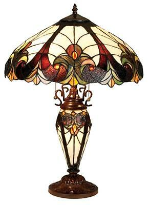 """Stained Glass Chloe Lighting Victorian 3 Light Double Lit Table Lamp 18"""" Shade"""